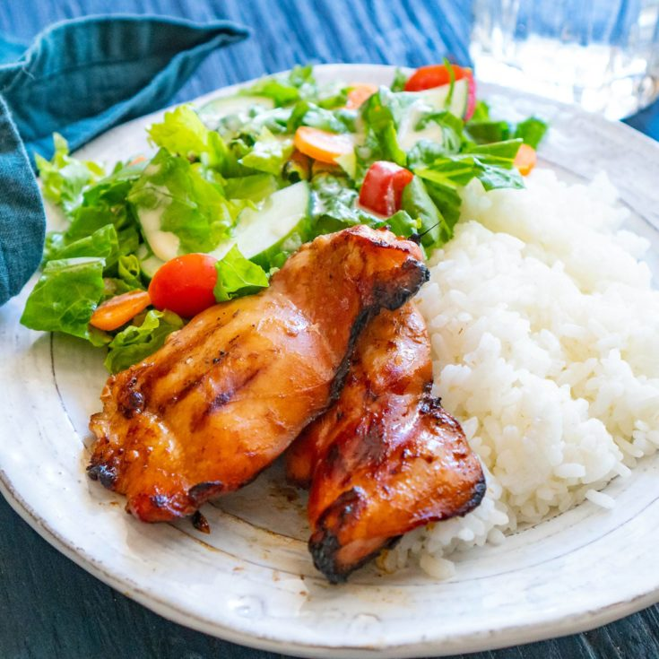 teriyaki chicken on plate with rice and salad