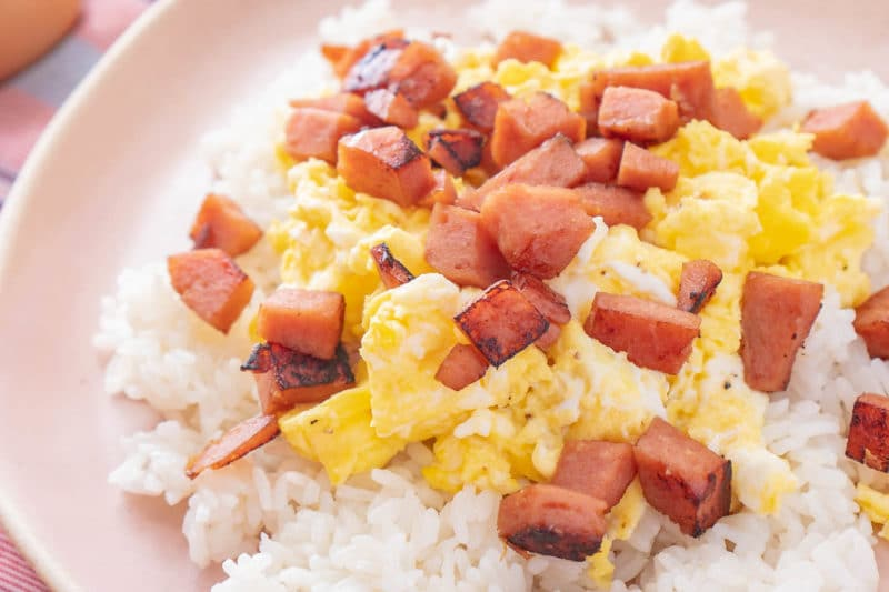 Plate of SPAM eggs and rice
