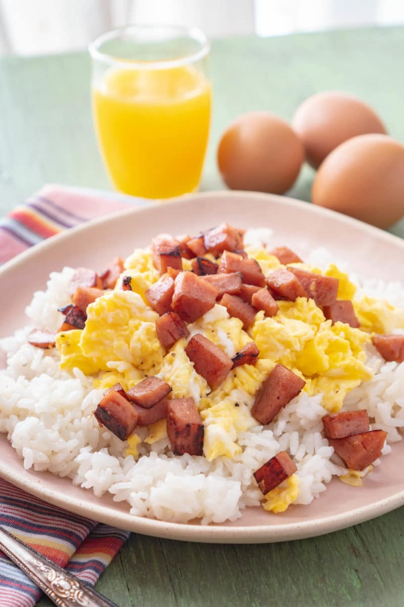 Hawaiian Recipe for SPAM Eggs and Rice