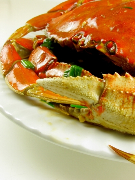 Dungeness Crab pan fried in Asian sauce
