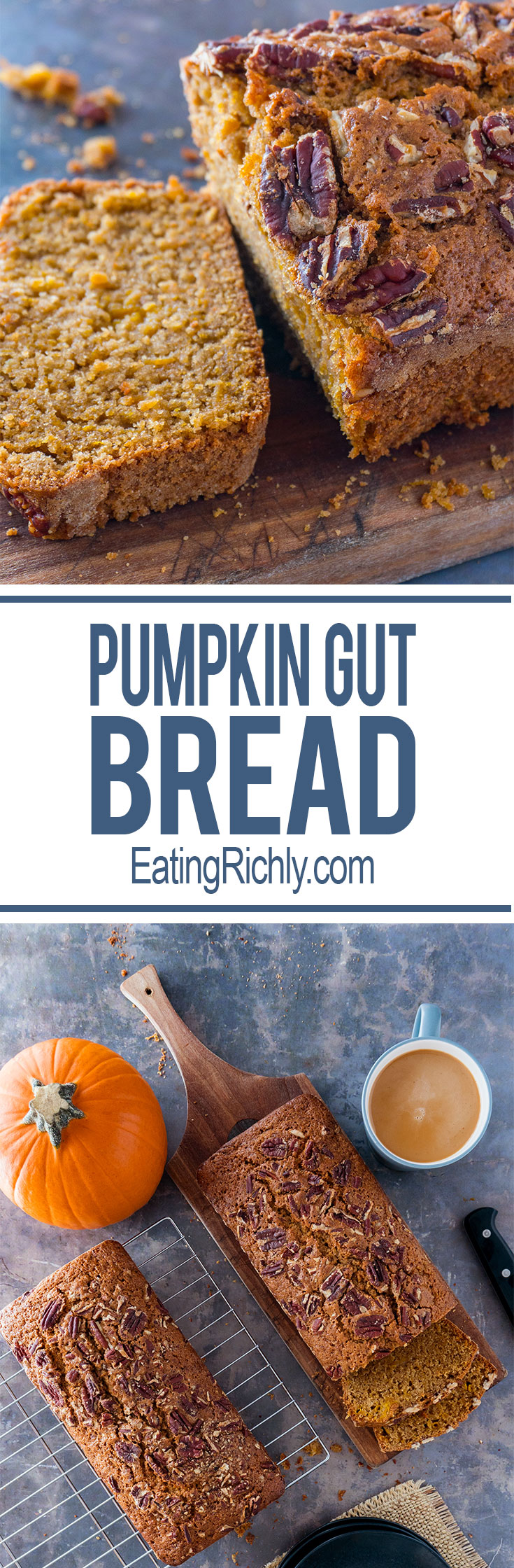 Turn the stringy guts of your Halloween pumpkin, into hearty, sweet, whole wheat pumpkin gut bread. You'll never throw pumpkin guts away again! From EatingRichly.com