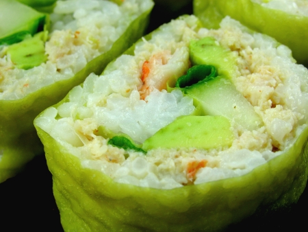 Dungeness Crab, Avocado, and Cucumber Sushi in Soy Wrappers