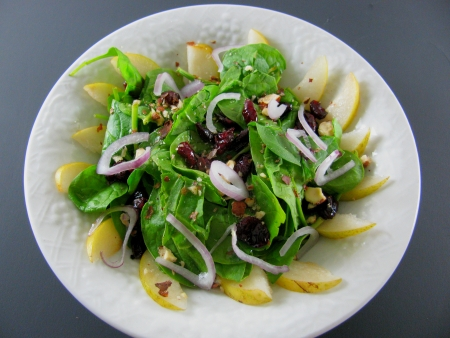 Spinach, Asian Pear, Cranberry, Hazelnut Salad and Foodportunity