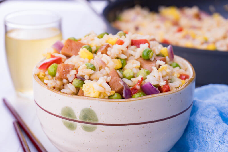 Spam fried rice in a bowl