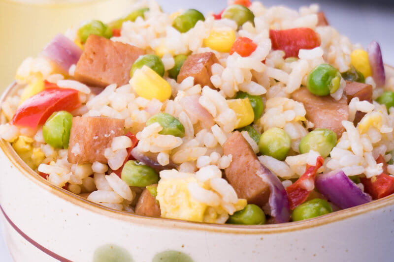 Close up of spam fried rice