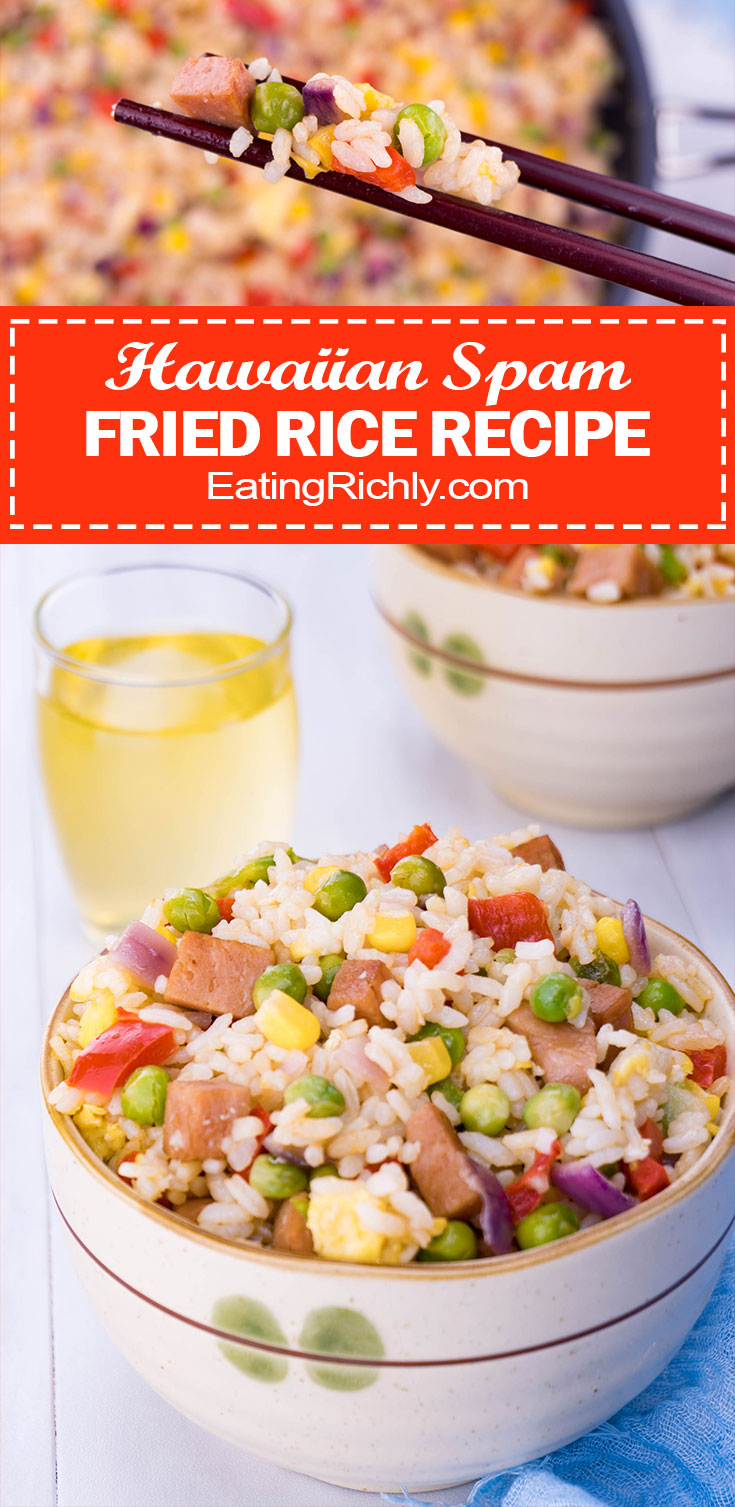 Hawaiian SPAM fried rice is a go to comfort food for locals living in other parts of the world. Fried rice is easy to make, with common ingredients, and tastes just like home. Our fried rice recipe include tips on how to make fried rice with any meat or veggies on hand, even vegan and gluten free! #spam #hawaii #hawaiianfood #rice #friedrice #dinner #dinnerrecipe #side