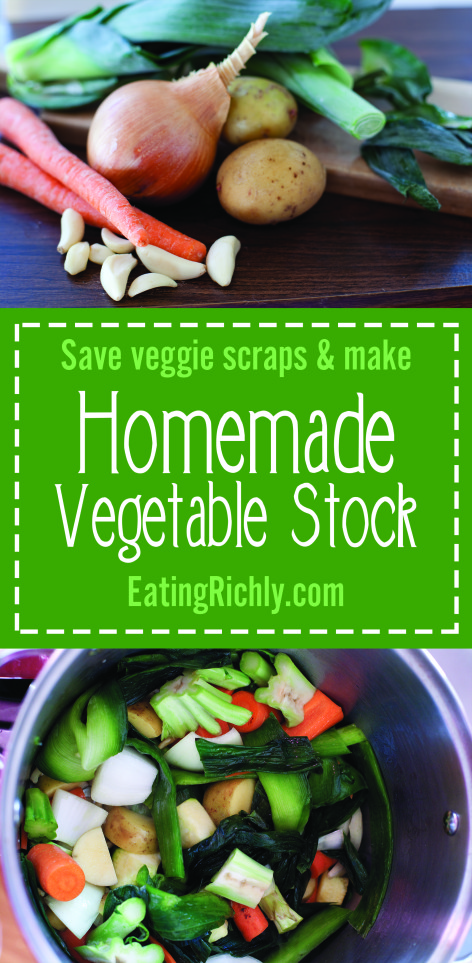 This homemade vegetable stock recipe can save you so much money by using veggie scraps stored in the freezer. From EatingRichly.com