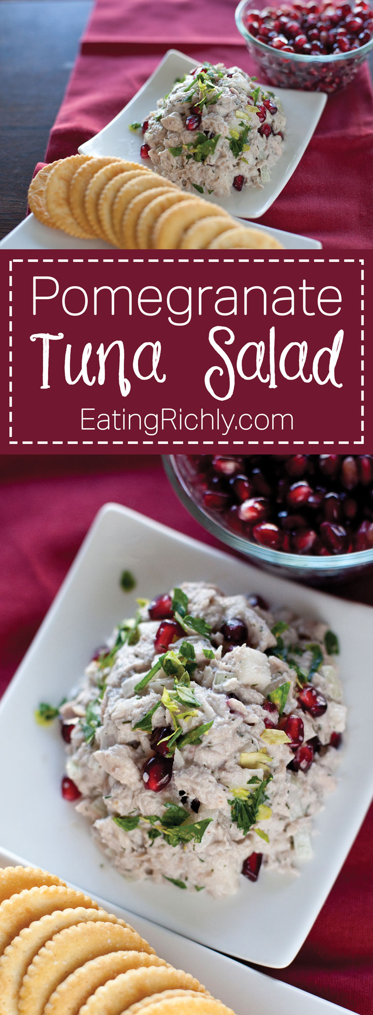 This pomegranate tuna salad recipe turns an old favorite into an exciting new treat. From EatingRichly.com