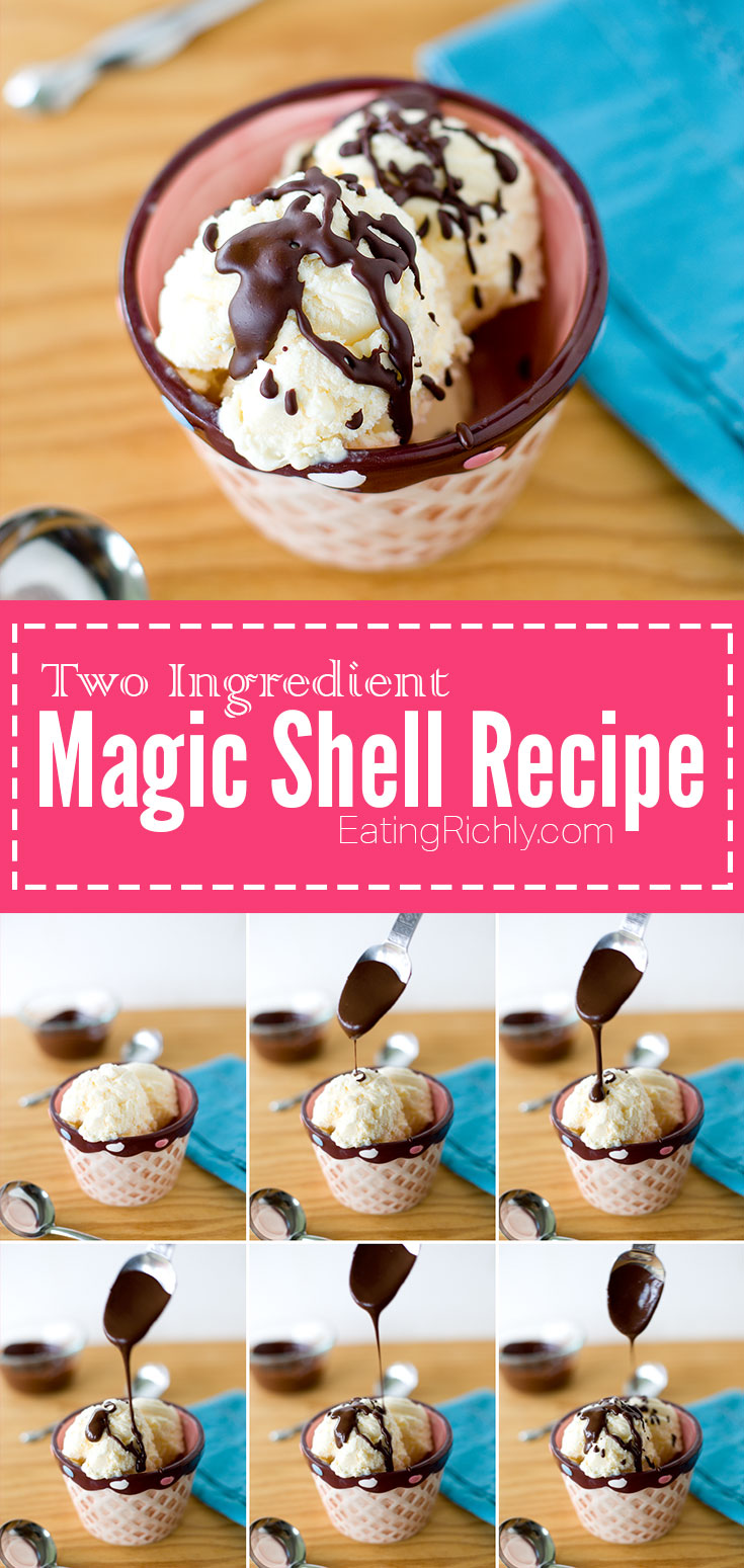 Homemade magic shell takes just two ingredients and can be vegan and dairy free! Perfect on coconut milk ice cream. From EatingRichly.com
