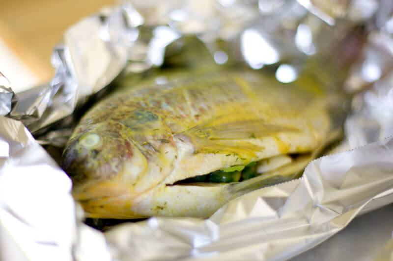 Stuffed whole tilapia