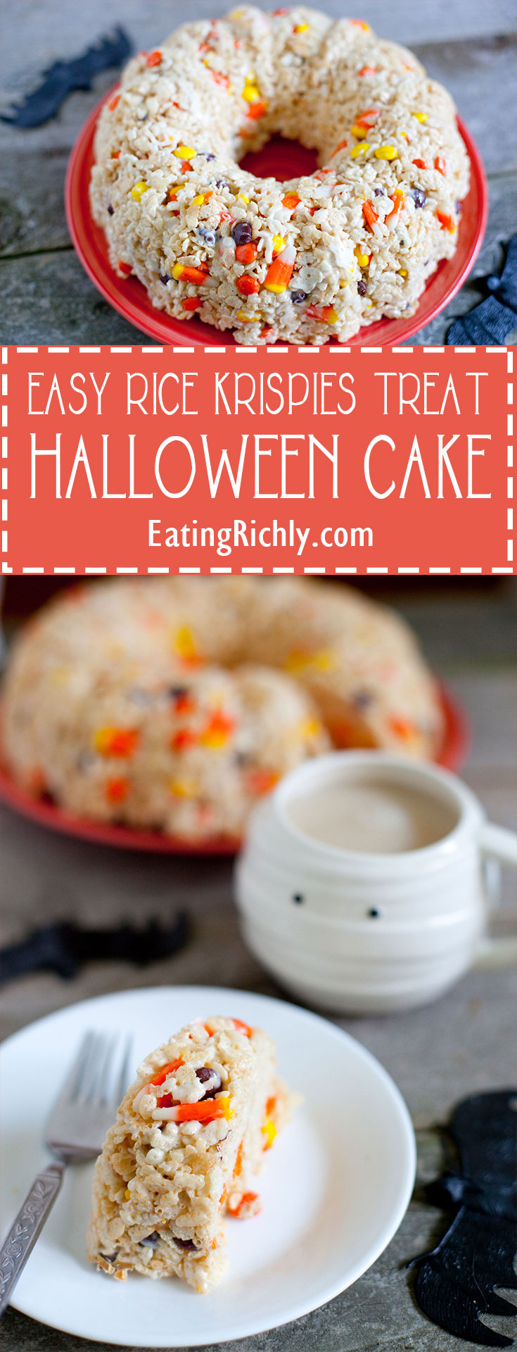 Take Rice Krispies Treats to a new level of fun in this easy Halloween Rice Krispie cake that makes the perfect Halloween party dessert in only 10 minutes! From EatingRichly.com