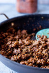Ground beef cooked with gluten free taco seasoning