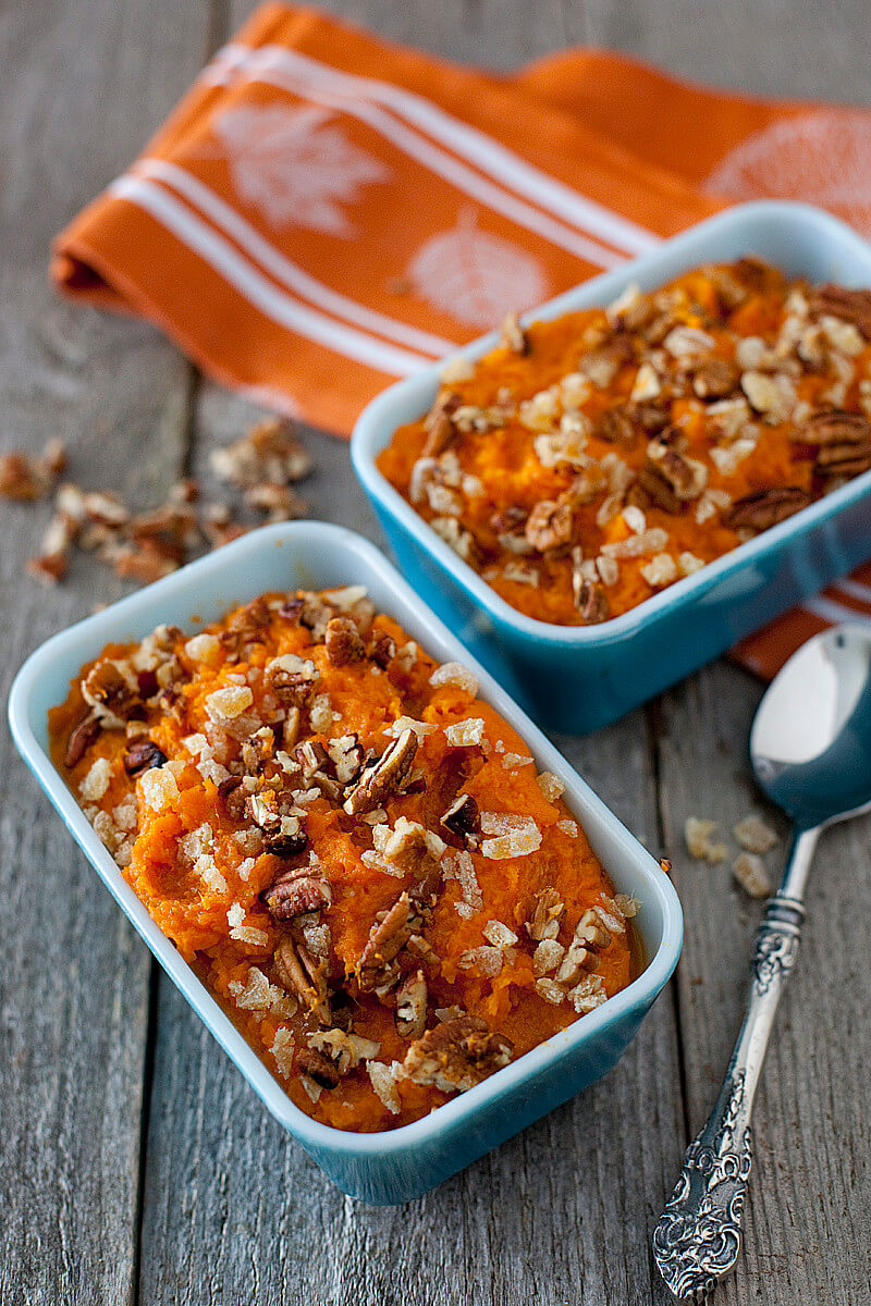Healthy Sweet Potato Casserole Recipe with coconut, ginger and pecan | EatingRichly.com