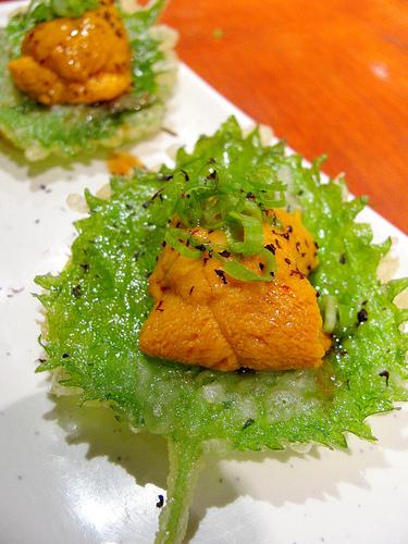 Eleventh Course: Sea Urchin (uni) on fried leaf