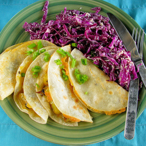 Red Cabbage Salad by Molly Wizenberg of Orangette and Potato Quesadillas