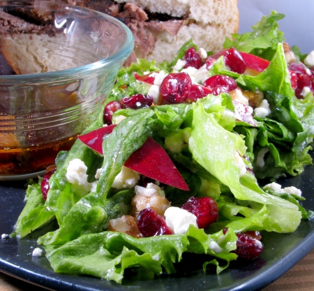 Autumn harvest salad and beef aju from the crockpot