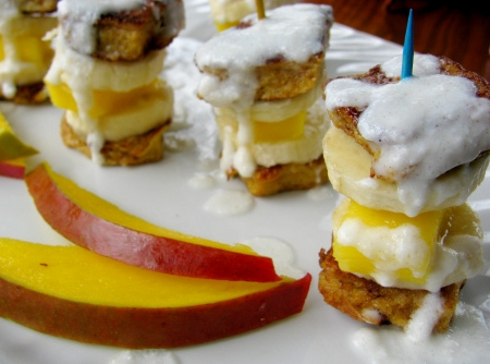 French Toast Tropical Fruit Bites with Coconut Syrup