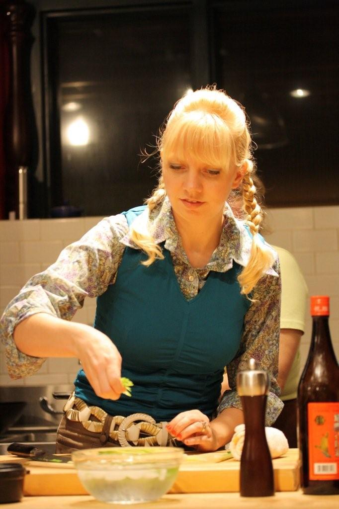 Diana cooking at Jaden's Steamy Kitchen class