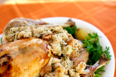 Thanksgiving-stuffing-in-turkey