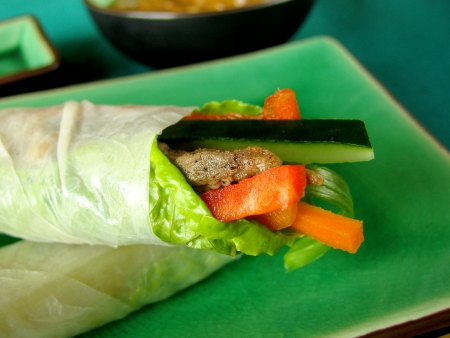 Fresh summer roll with Vietnamese steak