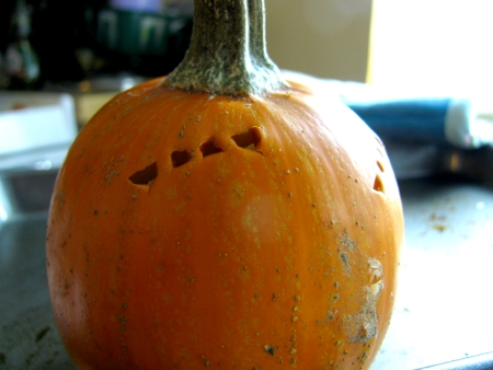 Whole cooked pumpkin