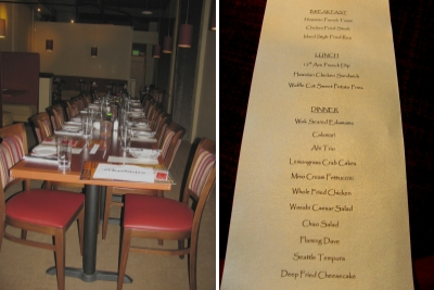 chao bistro table and menu