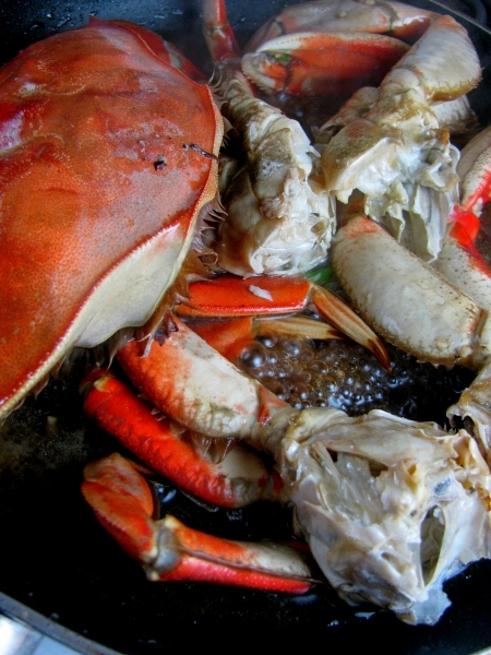 Pan frying the Dungeness Crab in an Asian sauce