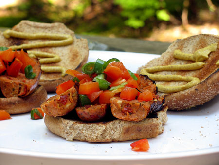 Campfire Sausage Sandwich with Roasted Red Peppers