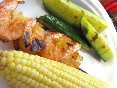 Apartment Grilling Series: Garlic, Ginger and Lemongrass Shrimp with Grilled Cucumber and Corn