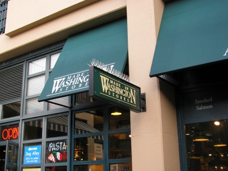 made in washington store sign