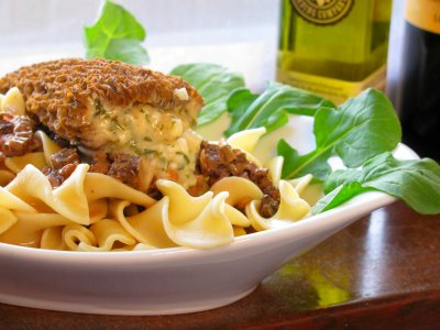 Stuffed Morels on Morel and Truffle Oil Pasta