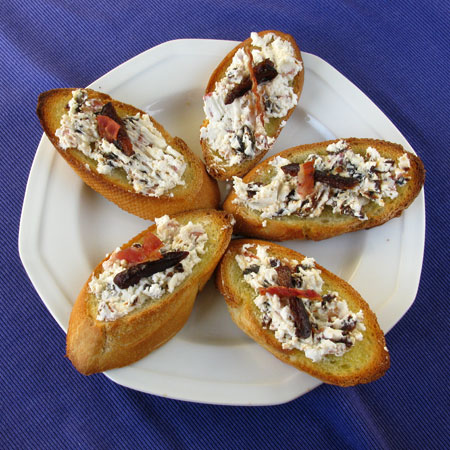 Dried Plum, Bacon, and Goat Cheese Crostini