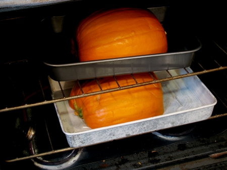 Roasting pumpkin in the oven for pumpkin puree