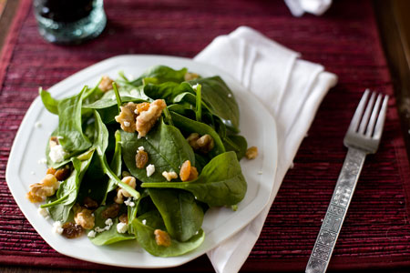 Spinach Walnut and Feta Salad