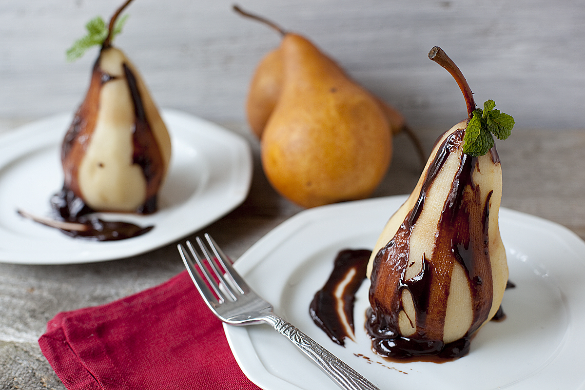 Orange and Cinnamon Poached Pears with Chocolate Ganache