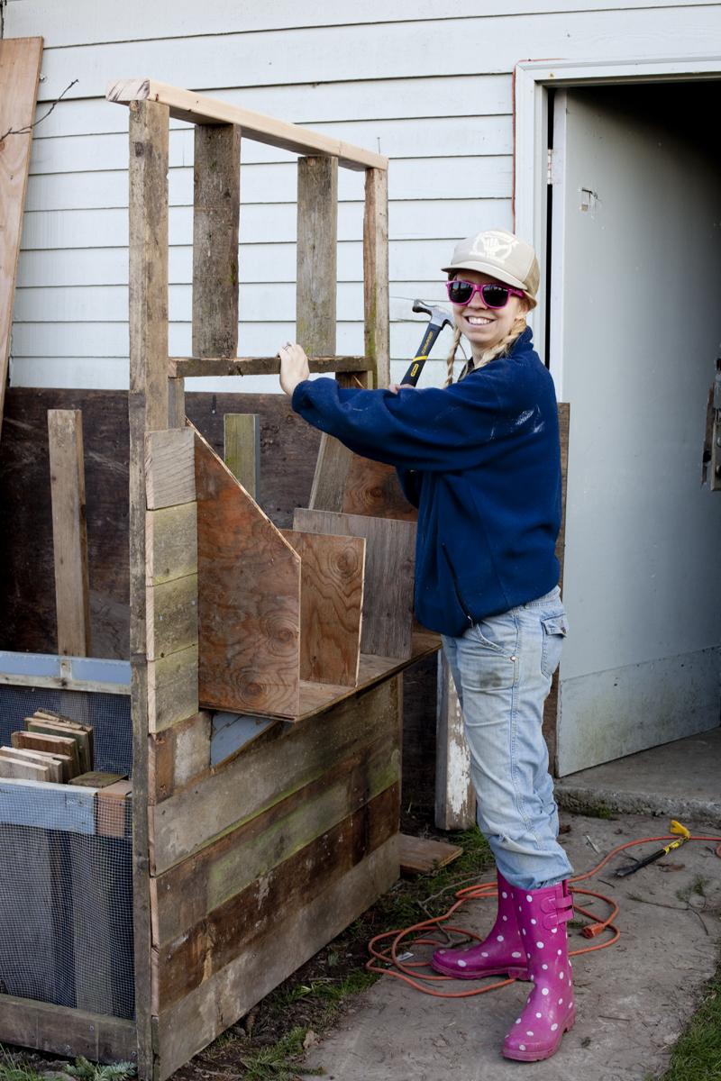 diana-building-chicken-coop