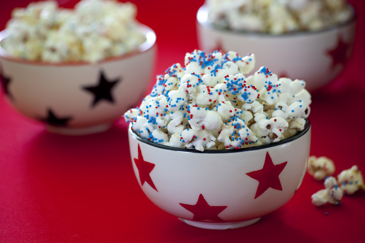 July 4th Snack Recipe: Almond Bark Popcorn
