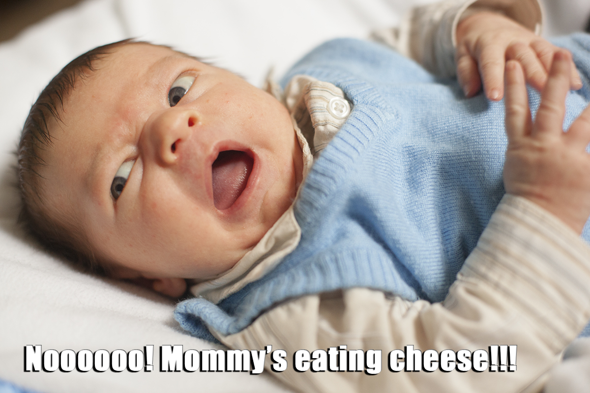 Nooo! Mommy's eating cheese!!!