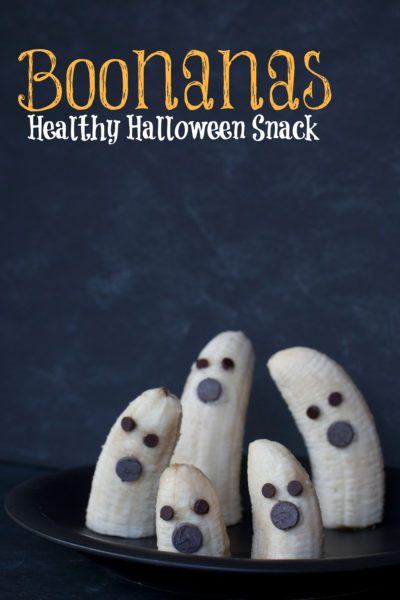 Halloween Fruit Snacks: If you need a healthy kid snack for Halloween, look no farther than these adorable chocolate chip banana ghosts. They're fast and easy to make, and sure to delight kids of all ages. From EatingRichly.com