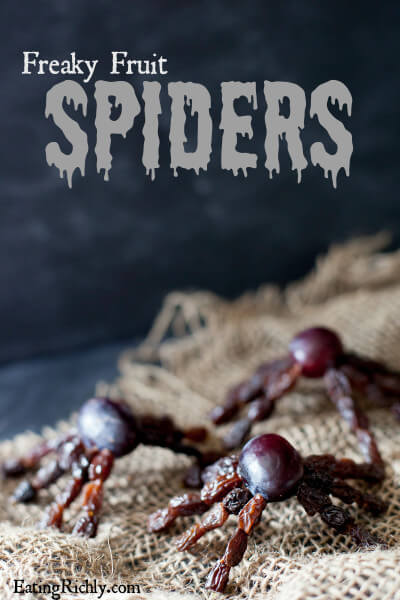 Holiday Edible craft for kids: These healthy Halloween fruit spiders are so creepy crawly, kids will beg for more! | EatingRichly.com