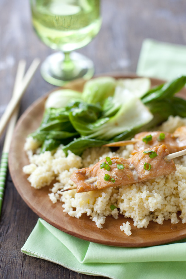 Soy salmon skewers are an impressive appetizer or main dish that can be ready in under 20 minutes | EatingRichly.com
