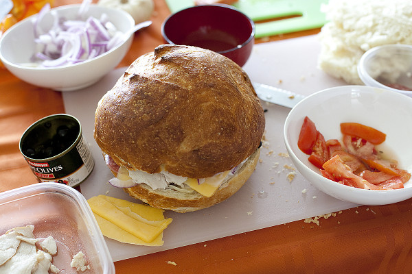 GIANT sandwich that is meant to be squished. Perfect for back packing, or beach trips.   EatingRichly.com
