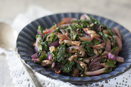 Recipe for Winter: Sauteed Greens with onions, garlic, and bacon | EatingRichly.com