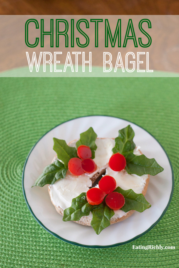 Cute kid snack for the holidays, a Christmas Wreath Bagel! | EatingRichly.com