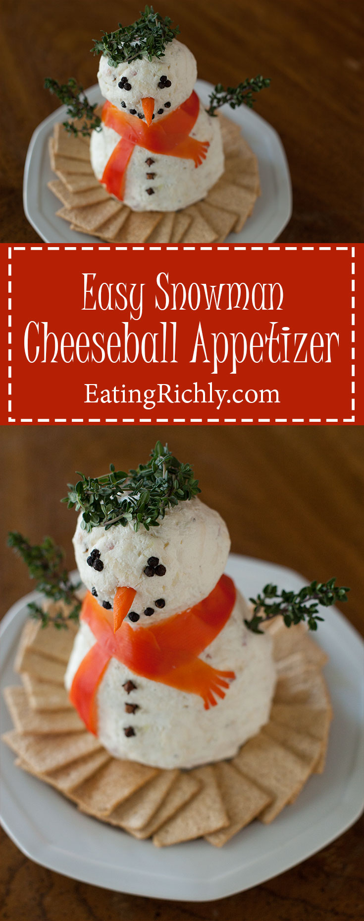 Christmas Cheese Ball.Christmas Cheeseball Snowman Recipe