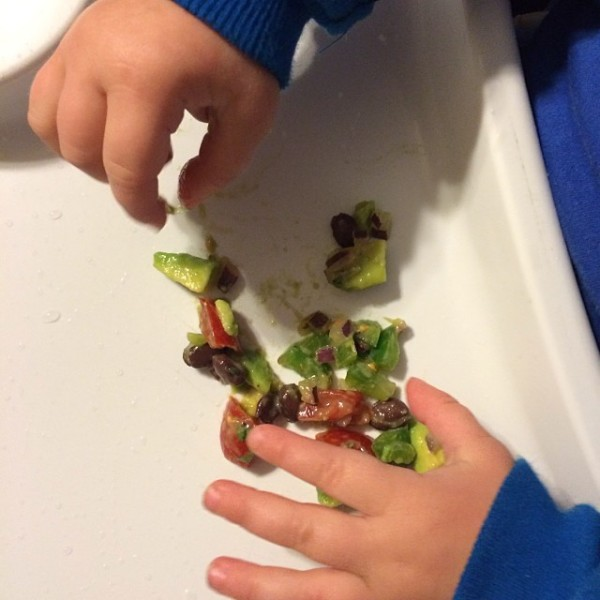 corban eats avocado salsa