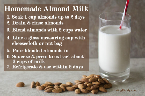 Easy step by step photo tutorial on how to make homemade almond milk from EatingRichly.com