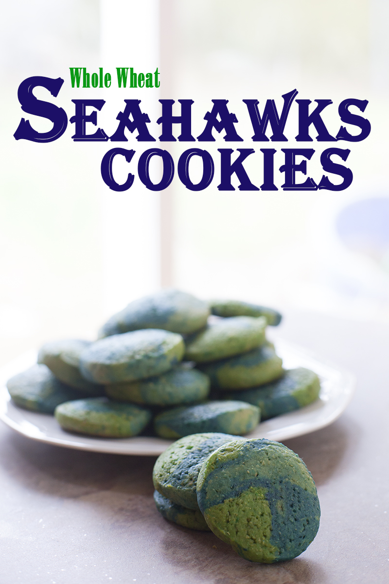 These slice and bake Seahawks sugar cookies are made with half whole wheat flour, perfect recipe for your Super Bowl Party. EatingRichly.com