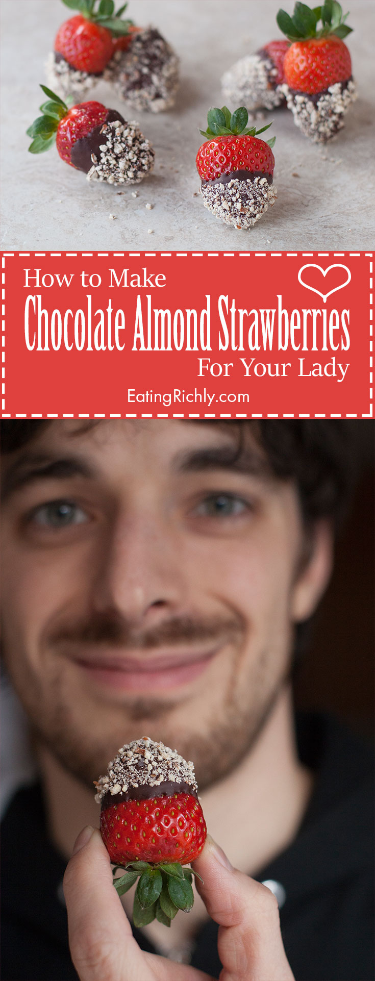 These dark chocolate almond covered strawberries are the perfect Valentine dessert for you to surprise their wife or girlfriend with. They're swoon worthy! From EatingRichly.com