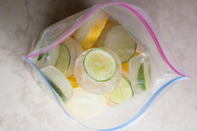 Easy DIY Citrus ice cubes in a muffin pan. EatingRichly.com